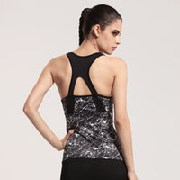 Wholesale new women printed sleeveless yoga shirt sport running fake two piece tank tops quick dry strappy bra ropa deportiva mujer