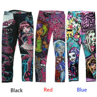 Wholesale Monster High Printed printing Kids Girls Clothes Pants Childs cartoon Leggings Trousers Children s Casual Pants for y