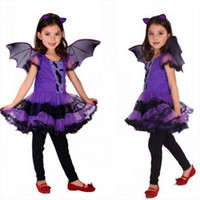 bat suit flying - Halloween Children Cosplay Costume Black Flying Female Children s Costumes Purple Bat Girl Suit Costume For Cosplay Show