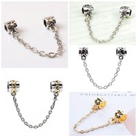 Wholesale TOP Quality Hot Silver Gold Plated Safety Chain Charm Beads Fit Original Pandora Bracelet For Women Exquisite DIY Jewelry pulseras