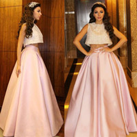 Wholesale Two Pieces Arabic Myriam Fares Prom Dresses Crop Top Sleeves A Line Crystal Beaded Party Dresses Pleat Ruched Pink Evening Gowns