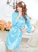 Wholesale Sexy Pyjamas Ladies Lingerie Silk Satin Robe Wedding Bride Bridesmaid Lingerie Set Sleepwear Nightgown Lace Bathrobe Underwear Pajamas