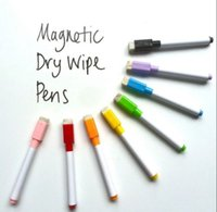 Wholesale 8 Colour Set Magnetic Dry Wipe White Board Window Markers Pens Built In Eraser marker pens yy320