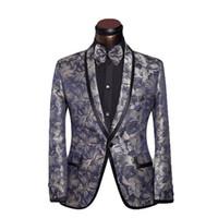 Wholesale 2016 Brand Clothing Suit Jacket Men s Custom Suits Silver Decorative Pattern Business Suit Ceket Wedding Suit Blazer XL