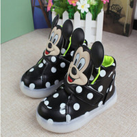 Wholesale 2016 Fashion Hello Kitty Boys Girls Luminous Sneaker Minnie Children Flashing Kids Led Lighting Child Casual Lovely Glow Mickey Mouse Shoes