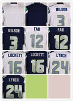 Wholesale NIK Elite Football Stitched Blank Russell Wilson Fan Tyler Lockett Marshawn Lynch White dark Blue Jerseys Mix Order