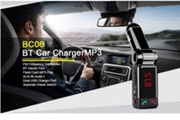 Wholesale BC06 Bluetooth Music Receiver mm Adapter Handsfree Car AUX Speaker FM Transmitter For Samsung iPhone Mobile