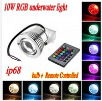 Wholesale W RGB LED Underwater Spot Bulb Light Lamp V Waterproof IP68 Fountain Swimming Pool led16 Colorful Change Remote Controlled