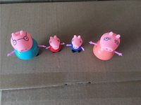 Wholesale 4pcs Anime Papa Pig Family Member Action Figures Toys Juguetes Peppa Page George Mummy Daddy Plastic Toy for Children Christmas Gifts