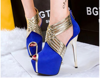 Wholesale Luxury Patchwork Blue Gold Strappy Peep Toe Platform Shoes Prom Gown Dress Wedding Shoes Women High Heels Colors size to