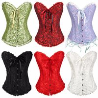 Wholesale Gothic Embroidered Brocade Corset body lift shaper Bustier Bone Lace Up Steampunk Corset Sexy Corselet Strapless Overbust Slim Corset