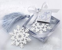 Wholesale Snowflake Alloy bookmark Creative Exquisite ribbon box gift