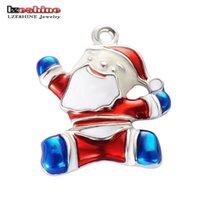 Wholesale Christmas PcsXSilver tone Mix Unique Enamel Christmas Charms Pendants EKmix1