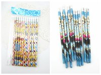 Wholesale Elsa Anna cartoon Learning stationery wooden pencil with eraser for kids gift Stationery school student drawing writing frozen minion pencil