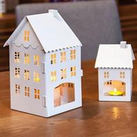 Wholesale 2015 Zakka Iron Small House Candle Holders pc creative Gift Europe Style Retro Wedding Decoration small Size