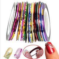 Wholesale 30 Colors Rolls Striping Tape Line Nail Art Sticker Tools Beauty Decorations for on Nail Stickers ak086