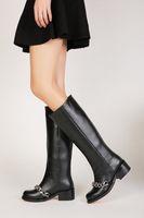 Les femmes travaillent bottes France-Femmes Noir Bottes hautes en cuir véritable longues Bottes 2016 Automne Hiver Mesdames Mode talon Chunky chaud Chaussures de travail Bottes de neige