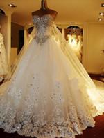 bead nail applique - 2016 Luxury A Line wedding dresses Shining crystal decal nail bead wedding dress Diamond belt decoration bohemian wedding dress Custom