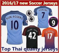 Wholesale Top quality men Manchester City soccer Jerseys KUN AGUERO DE BRUYNE STERLING SILVA TOURE YAYA Home Away rd shirts