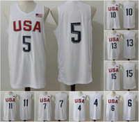 olympic basketball jersey - 2016 Mens Olympic USA Basketball Jersey Player White Basketball Jerseys USA Olympic Basketball Jersey All Stitched