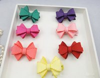 artificial grass shoes - Hot Sale Fashion Solid Cute Synthetic Suede Bow Baby Girls Hairpins Solid Artifical Leather Hair Bow Bowknot for Shoes
