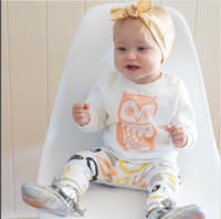 Wholesale 2016 Autumn Brand New white cute OWL girl set babysuit O neck long sleeves cotton freeshipping
