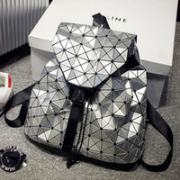 Wholesale BaoBao Backpack Silver Geometric Pattern Laser Hologram Sequins Folding Bags Fashion Women Daily Backpacks
