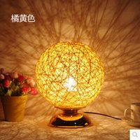 beds wicker - Modern Home Table Lamp Hand made Hemp rope Decoration Desk Lamp Lampshade Ball Table Light