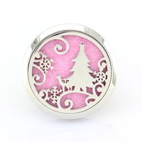 Wholesale 5PCS Silver MM Magnetic Christmas Tree L Stainless Steel Car Aroma Perfume Locket Pendant Essential Oil Diffuser Lockets