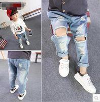 jeans lot - 2016 Children Boy Jeans Pant Boy Denim Pants Hallow Out Design Jeans Pant New Fashion Jeans Pant PL6721