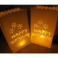 Precio de Velas de cumpleaños barcos-20pcs / lot FELIZ CUMPLEAÑOS Vela bolsita de té de luz Luminarias Los titulares de papel Bolsas de la linterna para el envío libre de la decoración de la fiesta de cumpleaños