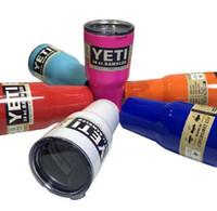 Wholesale Hot yeti cup Powder Coated oz oz oz Yeti Rambler YETI Coolers Rambler Tumbler Stainless Steel Double Walled Travel Mug YETI cup DHL