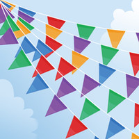 Wholesale 10pc m Fabric Party Bunting Colorful Flags Banner For Party Wedding Outdoor Event Store Opening Pennants Decoration