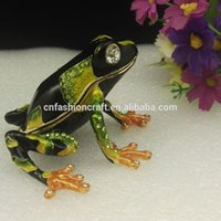 animal trinket boxes - pewter frog rhinestone frog enamel frog bejeweled frog fashion gifts trinket box