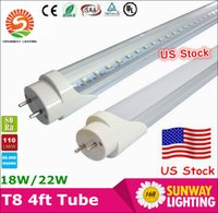Wholesale Stock in US ft mm T8 Led Tube Light High Super Bright W W W Warm Cold White Led Fluorescent Bulbs AC85 V FCC