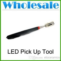 Wholesale New quot Telescoping LED Pick Up Tool Magnetic Tool Magnet LED Car Tool lots100