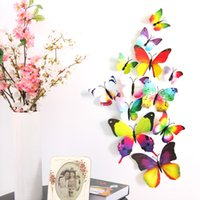 Wholesale H H003 D Vivid PVC Magnet Butterflies Magnetic Butterfly DIY Wall Sticker Stickers Decal Decals Home Decor Decoration Decorations