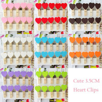 Wholesale Mini Heart Love Wooden Clothes Photo Paper Peg Pin Clothespin Craft Clips