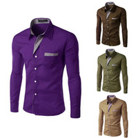 Wholesale Colors Fashion New Men Shirts Male Solid Formal Dress Shirt Long Sleeve Mens Brand Casual Shirts Plus Big Size M XL