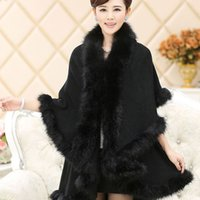 Wholesale 2015 New Fashion Long Wool Cashmere Faux Fox Fur Cape Coat Cardigan Women Poncho Knitted Sweater Women Scarves