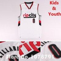 Wholesale Portland Rip City Damian Lillard Kids Jersey Sewn Embroidery Logo Damian Lillard Youth Basketball Jersey White Size S XXL