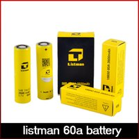 Wholesale 100 Original Listman IMR mAh A V High Drain Rechargeable Battery for thread Box Mod freeshipping
