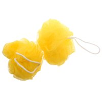 Wholesale Pack Yellow Foam Bubble Puff Shower Pouf Soft Nylon Mesh Net Bath Ball