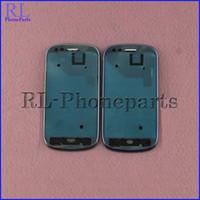 achat en gros de cadre mini-blanc-DHL 100pcs / lot de remplacement pour Samsung Galaxy S3 I8190 MINI G730A Frame LCD avant logement Moyen Bezel Frame Plate Accueil Button (BlueWhite)