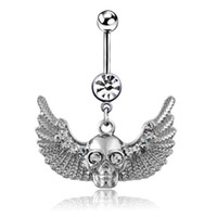 bell ceramics - Skull with wings dangle navel belly button rings body piercing jewelry