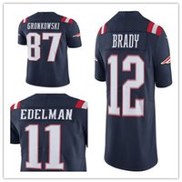 Wholesale Men s New England jersey Patriots Rob Gronkowski Tom Brady Julian Edelman Navy Color Rush Limited Jerseys