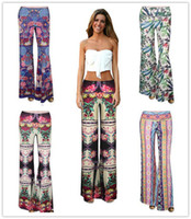 Wholesale Bohemian Style Women s Digital printing Slimming slim classic wide leg bell bottoms pants sports and fitness yoga pants long culottes