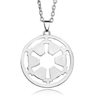american silver star - 2016 star wars Hollow Out Star Wars Galactic Empire Chain Necklace Women And Men Round Pendant Necklace ZJ
