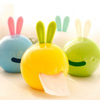 Wholesale Creative Rabbit shaped Multifunctional Tissue Box Colorful Napkin Container Animal shaped Suckers Tissue Box Easy extracted Tissue Box