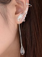 Wholesale Fashion New Elegant Angel s Wing No Piercing Silver Wire Alloy Ear Cuff Stud with Rhinestone Dangles Best Gift For Women